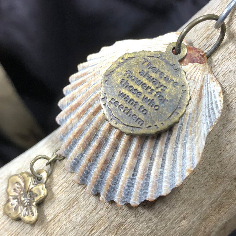 Seashell Pendant with Flower and Message