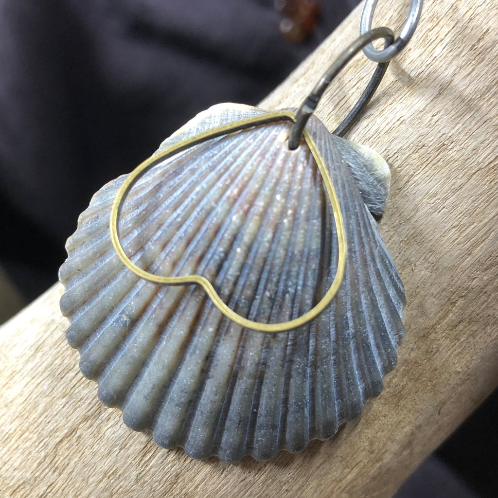 Seashell and Heart Pendant
