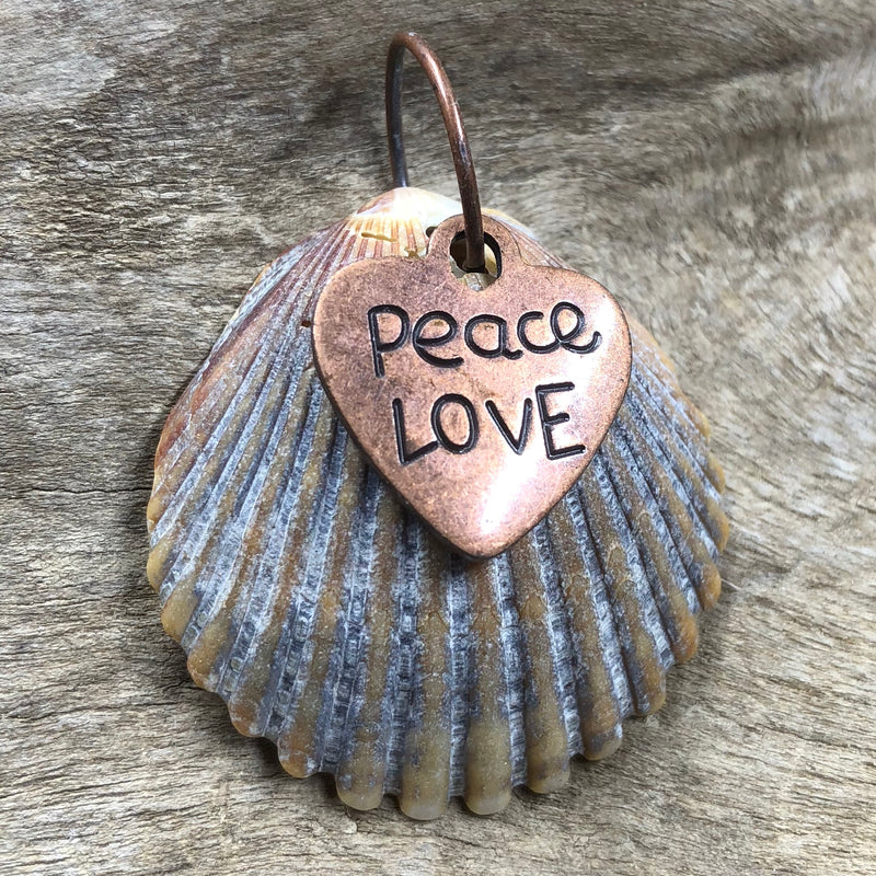 Peace and Love Seashell Pendant