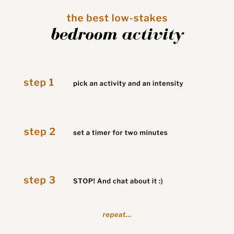 The Best Low-Stakes Bedroom Activity. Step 1: pick an activity and an intensity. Step 2: Set a timer for two minutes. Step 3: STOP! And chat about it :) Repeat...
