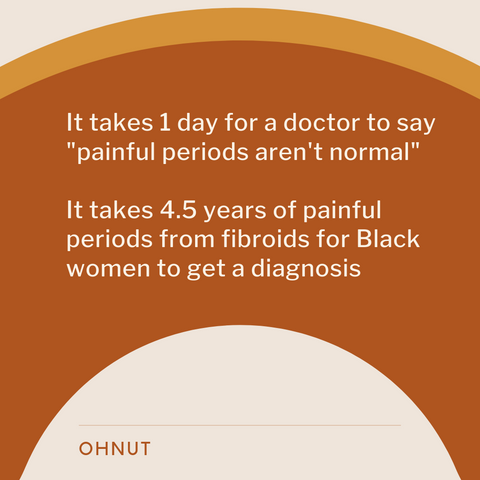 "It takes 1 day for a doctor to say ""painful periods aren't normal."" It takes 4.5 years of painful periods from fibroids for Black women to get a diagnosis."