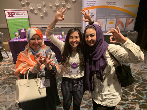 Tarfah Muammar, Emily Sauer, and Rawan Gari posing for a photo at the ISSWSH/ISSM conference.