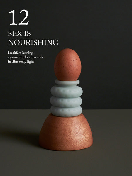 "Image of a brown egg resting atop an Ohnut. ""12. Sex is nourishing—breakfast leaning against the kitchen sink in slim early light."""