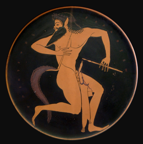 Red-figure plate depicting a a satyr, 520-500 BCE
