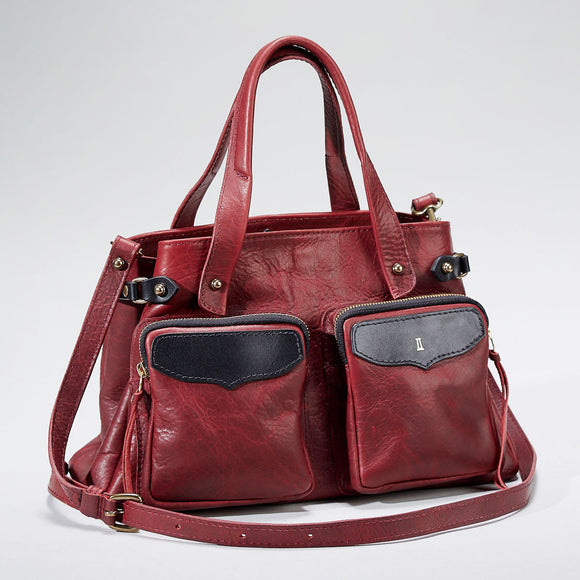 Coronado Leather Santa Fe Satchel in Scarlet