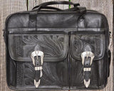 Ropin West Tooled Leather Computer Briefcase in Black