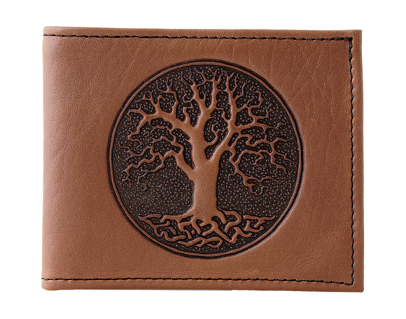 Oberon Tree of Life Bifold Wallet in Saddle