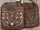 Ropin West Single Compartment Organizer Crossbody in Brown & Pearl or Brown & Turquoise