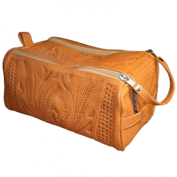 Ropin West Leather Double Zip Dopp Kit in Natural