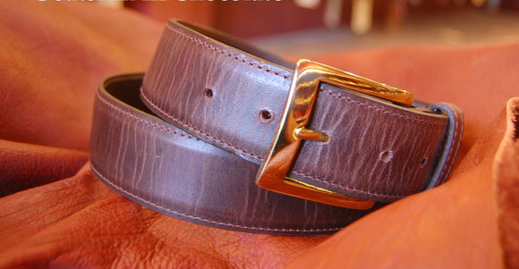 Chacon Goatskin Straight Belt in Chocolate