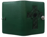 Oberon Celtic Cross Refillable Journal Cover in Green