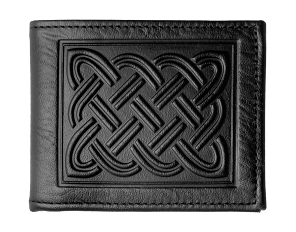 Oberon Celtic Braid Bifold Wallet in Black