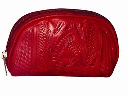 Ropin West Tooled Leather Cosmetic Case in Red