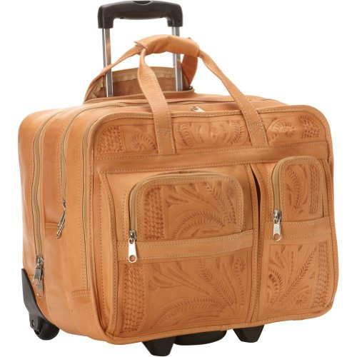 Ropin West Tooled Leather Roller Briefcase in Natural