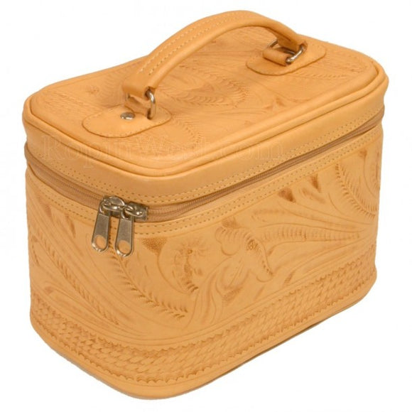 Ropin West Tooled Leather Vanity Case in Natural