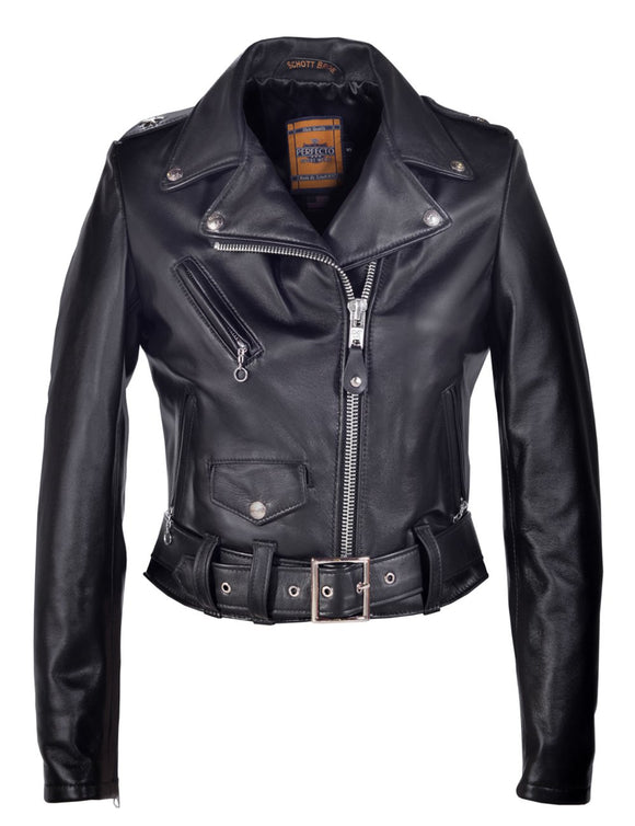 Women's Cropped Perfecto in Lambskin Leather Jacket