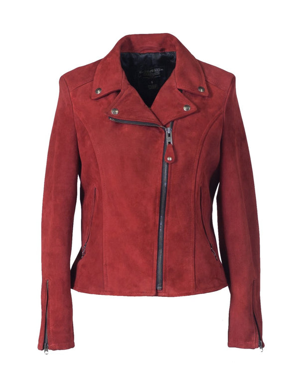 Women's Fitted Suede Motorcycle Jacket