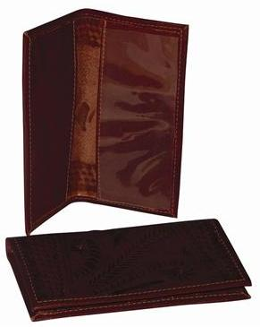 Ropin West Tooled Leather Checkbook Cover in Brown