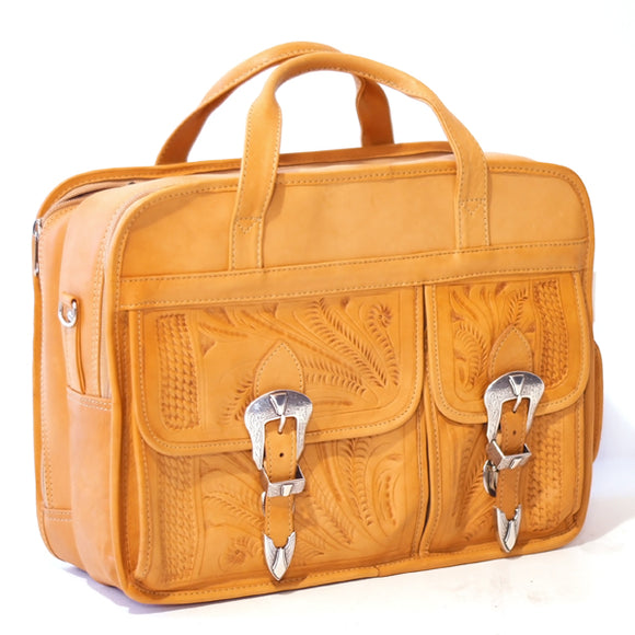 Ropin West Tooled Leather Computer Briefcase in Natural