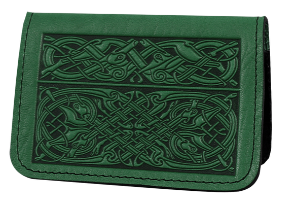 Oberon Celtic Hounds Card Holder in Green