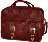 Ropin West Tooled Leather Computer Briefcase in Brown