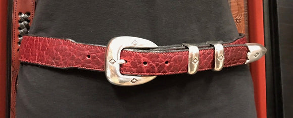 George Jackson Bison Tapered Belt in Oxblood