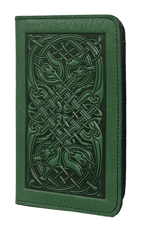 Oberon Celtic Hounds Checkbook Cover in Green