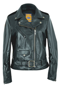 "Women's 23"" Lightweight Waxy Natural Grain Cowhide Perfecto Asymmetrical Leather Jacket"