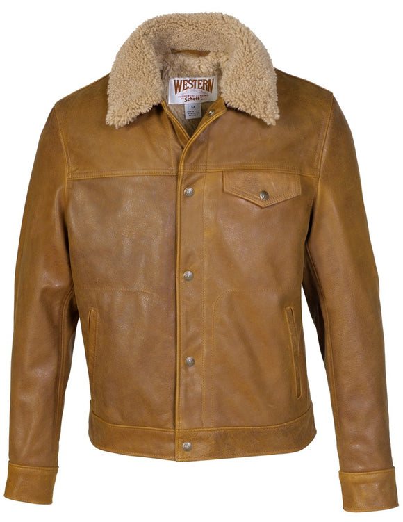 Men's Waxy Naked Buffalo Trucker Jacket with Sheepskin Collar