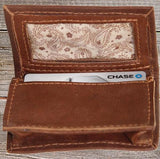 Ropin West Tooled Business Card Wallet in Brown