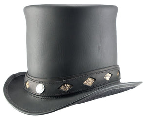 Head'n Home Hat Stove Piper Top Hat with Diamond Inlay Band in Black