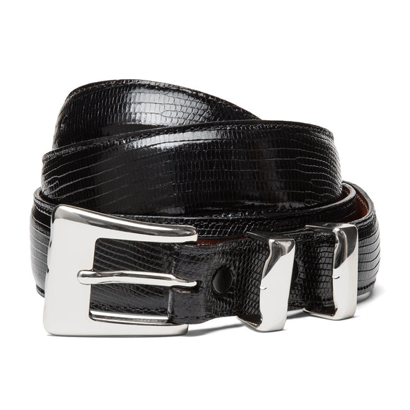 Chacon Lizard Tapered Belt in Black