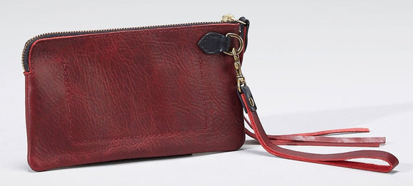 Coronado Leather Santa Fe Wristlet in Scarlet