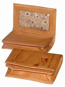 Ropin West Tooled Business Card Wallet in Natural
