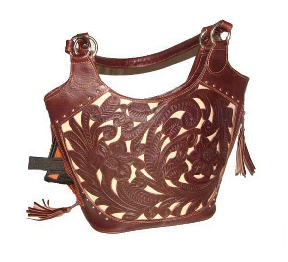 Ropin West Concealed Handbag in Brown & Pearl