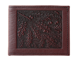 Oberon Oak Leaves Bifold Wallet in Wine