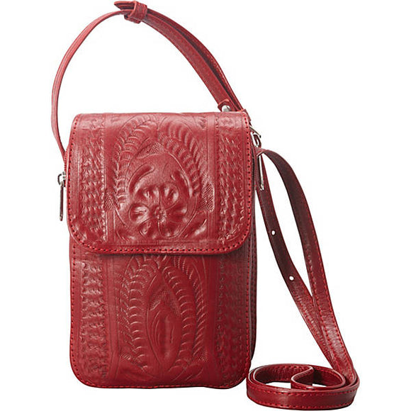 Ropin West Single Compartment Large Zip Organizer Purse in Red