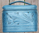 Ropin West Tooled Leather Vanity Case in Turquoise