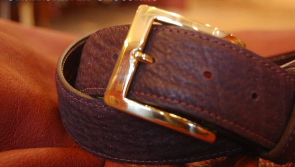 Chacon Sharkskin Straight Belt in Chocolate