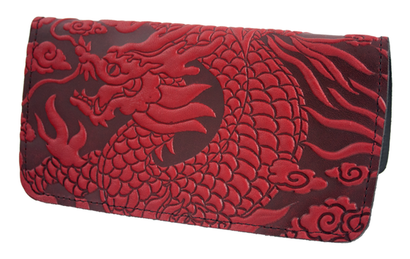 Oberon Cloud Dragon Checkbook Cover in Red
