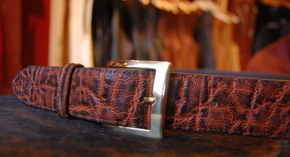 Chacon Elephant Straight Belt in Cognac