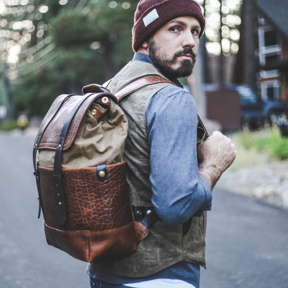 Coronado Leather Bison Redwood Backpack #515 in Walnut