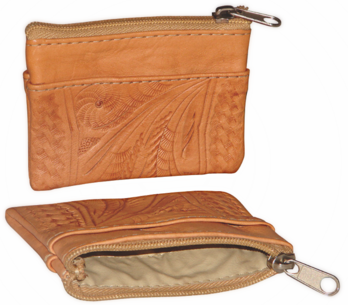 Ropin West Tooled Leather Single Zip Coin Pouch in Natural