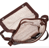 Ropin West Zipper Messenger Bag Interior in Brown