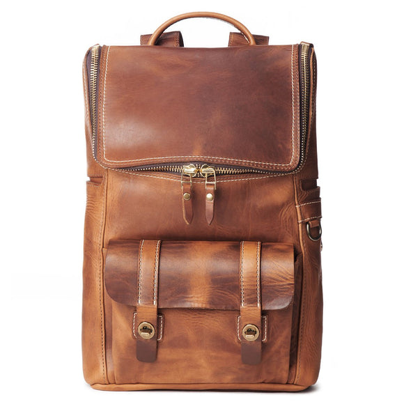 Coronado Leather Americana Top Zip Backpack #740