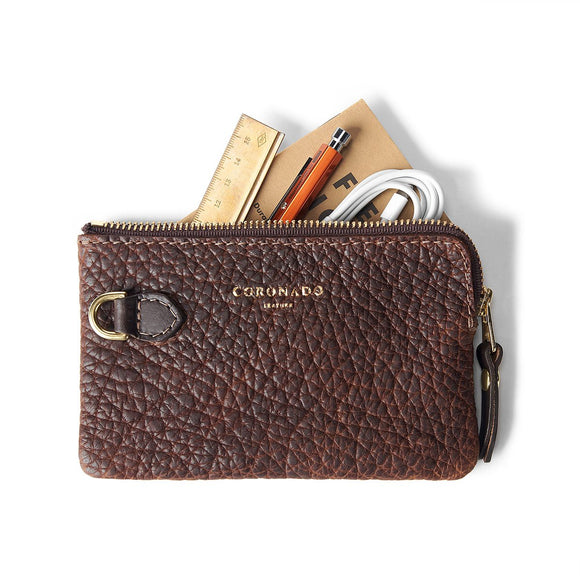 Coronado Leather Bison Small Pouch #605 in Walnut