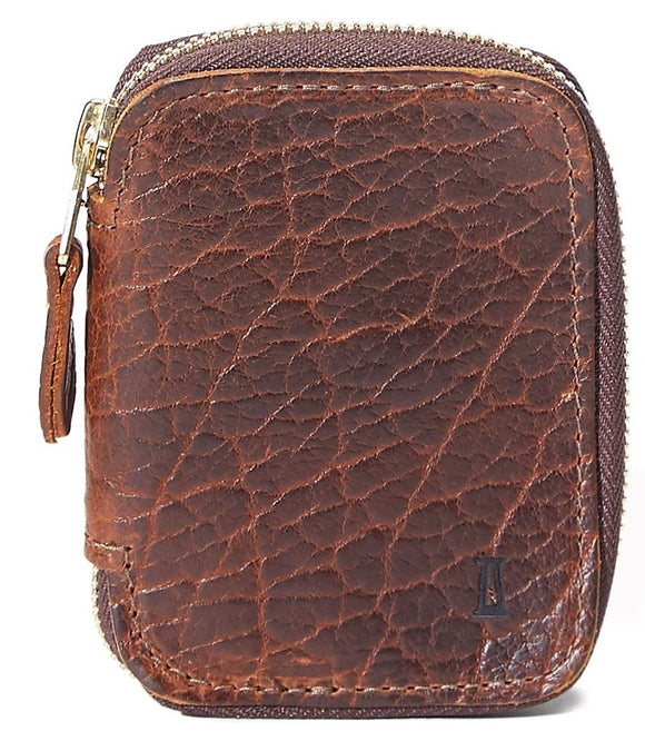 Coronado Leather Bison Zip Wallet #660 in Walnut