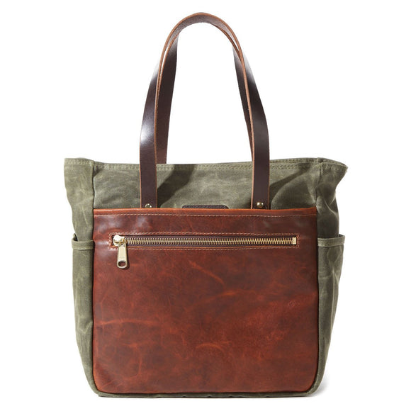 Coronado Leather Bison Heritage Canvas Tote #710 in Olive/Saddle