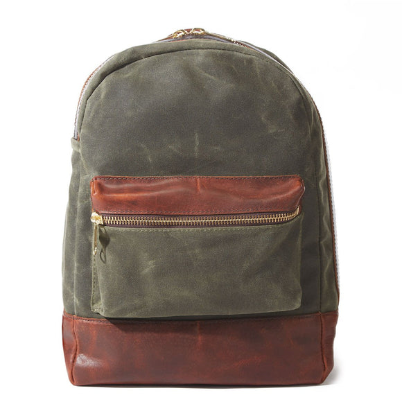 Coronado Leather Bison Heritage Canvas Backpack #715 in Olive/Saddle
