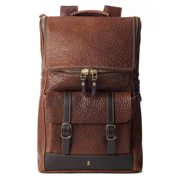 Coronado Leather Bison Top Zip Backpack #740
